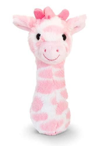 tachi Plüschtier für Babys 15 cm, Kuscheltier Giraffe Rosa, Kindersicheres Stofftier mit Rassel