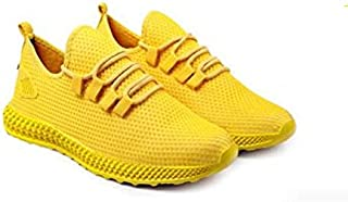 KT Traders Solid Reguler Mesh Lace-Up On Style for Easy Sport Shoes (KT Traders-22-Yellow-8)