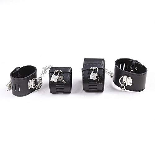 GFHDJHEsposas Exquisitas para Sěx Play Soft Lǒckǎblě Wrist Cuffs Ǎnklě Cǔffs Ultrà Sòft Lěǎther Ajustable Blǎck Cǔffs Sět Kit Cǒùple Toy Mujeres Compras RegalosGFHDJH