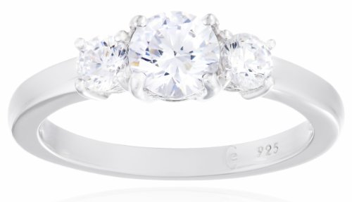 Platinum-Plated Sterling Silver Round 3-Stone Ring made with Swarovski Zirconia (1 cttw), Size 7