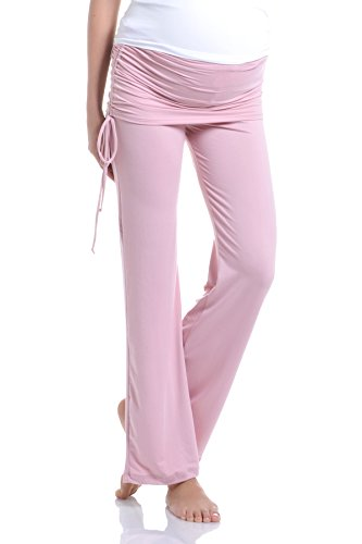 Beachcoco Women's Maternity Fold Over Ruched Drawstring Pants (S, Mauve)