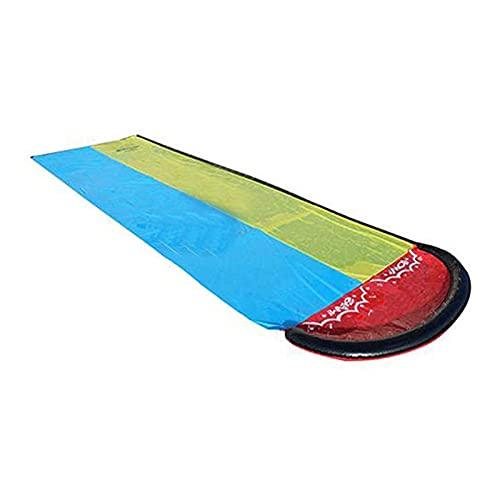 lefeindgdi Tobogán acuático doble, 4 pies de carreras de doble tobogán acuático para césped, juguetes de verano al aire libre almohadilla inflable para niños jardín césped jardín jardín
