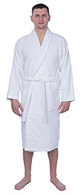 Dream In Colors Men's 100% Cotton Shawl Collar Robe Terry Cloth Bathrobe Available In Plus Size