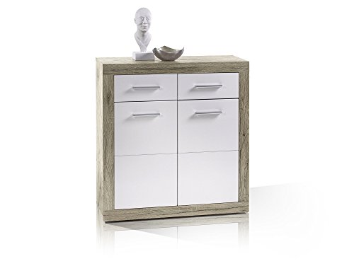 moebel-eins Chester I Stauraumelement/Kommode, Material Dekorspanplatte, Eiche sanremofarbig/Weiss
