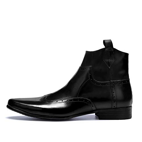 Zapatos Hombre Invierno Chelsea Botas Hombres Cargadores Del Tobillo De Cuero Genuino Del Dedo Del Pie En Punta De La Cremallera Lateral En Relieve Suela De Goma Clásico Casual Botas Hombre Impermeabl