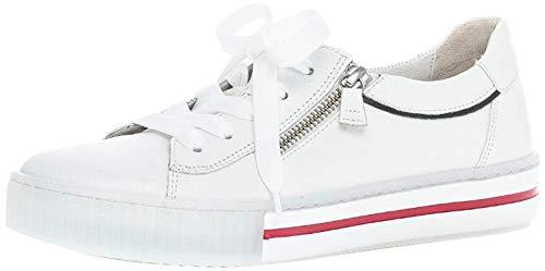 Gabor Damen Sneaker, Frauen Low-Top Sneaker,Best Fitting,Reißverschluss,Optifit- Wechselfußbett, sportschuh Ladies,Weiss/Marine Kombi,40.5 EU / 7 UK