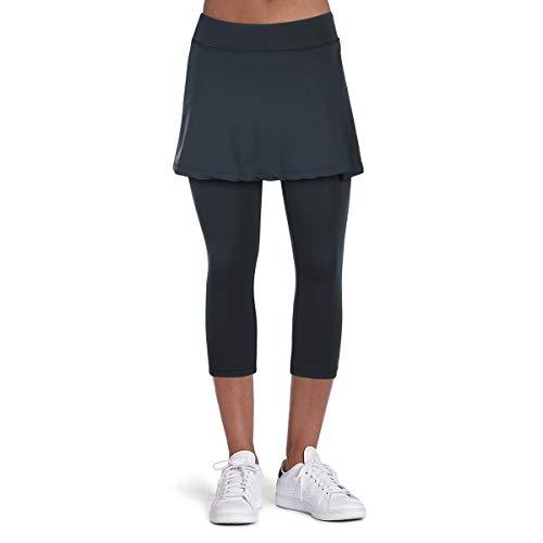 Hosenrock Damen Sportrock Caprihose Leggings Hose mit Rock Tennis Bekleidung Laufrock 3/4 2 in 1 Schwarz L