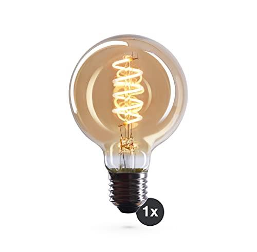 CROWN LED Edison Glühbirne E27 Fassung, Dimmbar, 4W, 2200K, Warmweiß, 230V, VS18, mit Vintage Spiral Filament, Beleuchtung im Retro Look