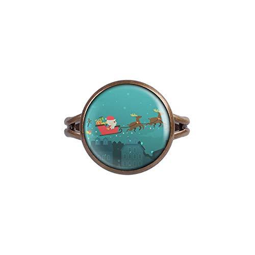 Mylery Ring mit Motiv Schlitten Rentiere bronze 14mm