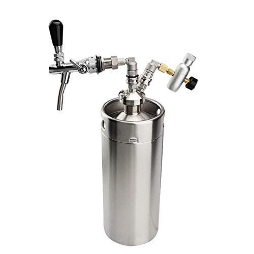 Fried Brewing Heimbrau Edelstahl Mini-Fass 10L Bier-Fass-Qualitäts-Pressurized Mini Growler, Keg Growler Set mit Bier-Hahn-Hahn Bag Versatile (Color : The Whole Set)
