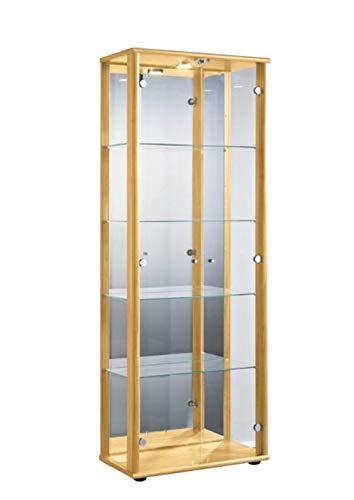 K-Möbel Glasvitrine in Buche (176x67x33 cm) mit 4 höhenverstellbaren Glasböden aus ESG, LED, Schloss und Spiegel; beleuchtet; perfekt für Sammler;