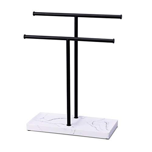 LKKL Double-T Hand Towel Holder and Accessories Jewelry Stand, Countertop Towel Rack Tree Stand with Marble Pattern Jewelry Tray Base for Bathroom Kitchen Vanity, Black