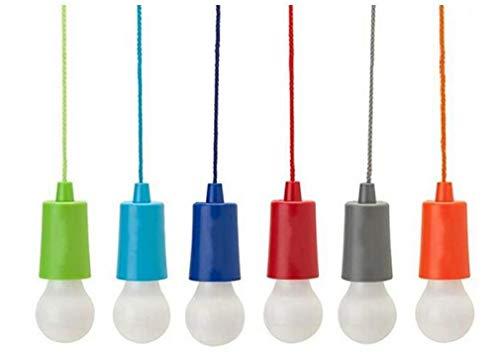LAANCOO Tire de luz con conmutador de extracción, portátil 6 LED de luz Blanca de los bulbos para el Partido, la Navidad, Jardín, Senderismo, Pesca, Camping, lámpara Decorativa con Pilas