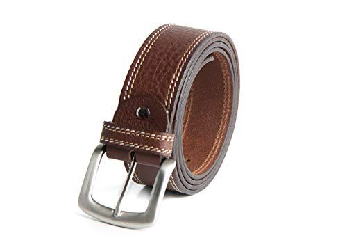 RUL Cinturón de cuero marrón y negro para hombre con hebilla cepillada para vestir y trabajar (Marrón Claro, 120)
