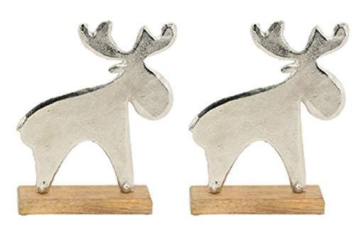 Exner dekorativer stimmungsvoller putziger Deko-Elch Holz-Elch Weihnachts-Elch in 3 möglichen Größen (2 x klein)