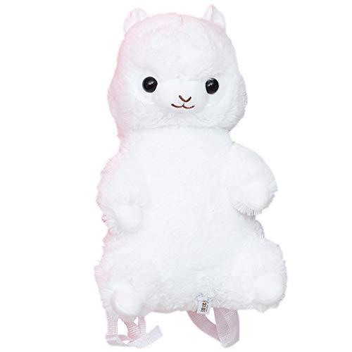 Lindo Animal Arco Iris Alpaca Peluche Mochila niños Felpa Mochila Dar Regalos a niñas 40 cm Blanco