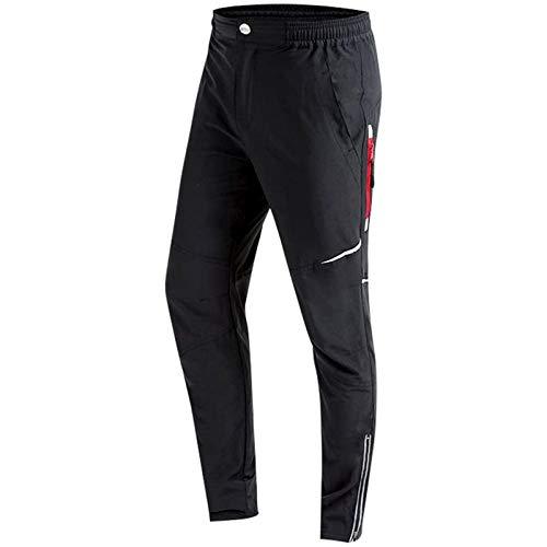 Pantaloni da Ciclismo Uomo Lunghi Pantaloni MTB Athletic Cycling Pantaloni Traspiranti Outdoor e Multi Sportivo Antivento Nero (Nero, XL)