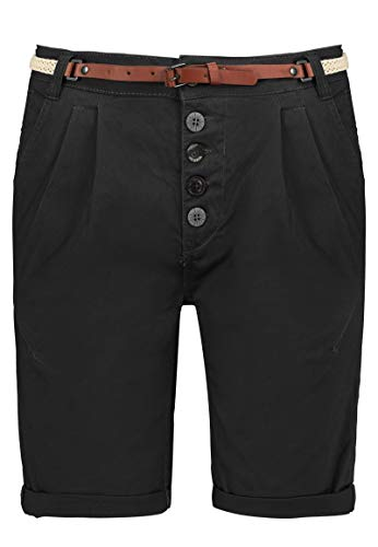 Sublevel Damen Chino Bermuda-Shorts mit Flecht-Gürtel Black XL