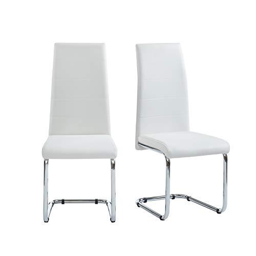 BAÏTA MARA02 Juego de 2 sillas, Simili, Blanco, 54x42x101cm