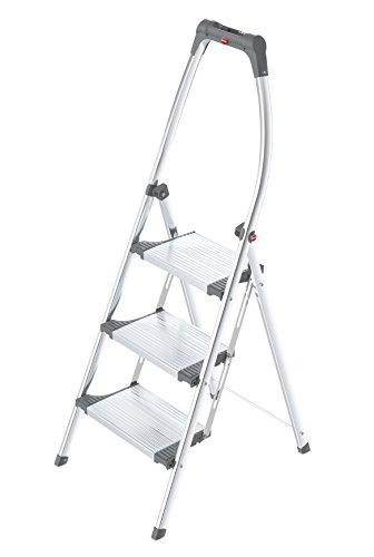 Hailo LivingStep Comfort, Alu-Klapptritt, 3 Stufen, hoher Sicherheitshaltebügel, Füße mit Soft-Grip-Sohlen, belastbar bis 150 kg, 4303-201