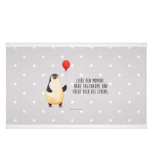 Mr. & Mrs. Panda groß, Badezimmer, 50 x 100 Handtuch Pinguin Luftballon mit Spruch - Farbe Grau Pastell