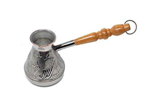Cafetera de Cobre Metalizado - Mango de Madera - Tipo Turka - 300 ml - Para Café Turco, Griego, Ruso - Hecha en Rusia