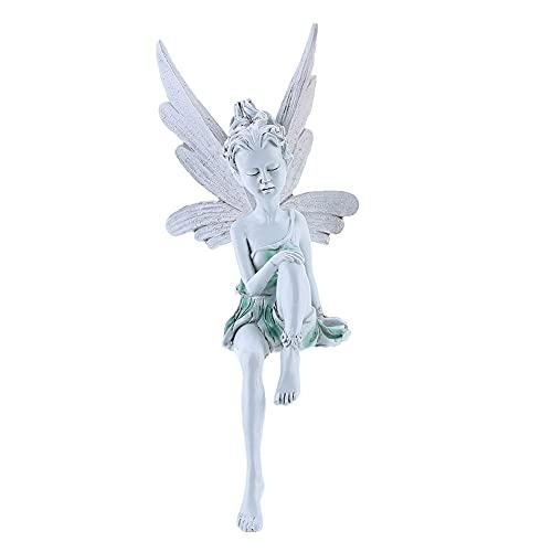 JAWSEU Figurín Adorno para jardín,Esculturas Duende Hada,Figura Decorativa para jardín (Resina),Hogar Jardín Decoración, Accesorios Adornos al Aire Libre,Decoración de jardín depaisajismo , Regalo