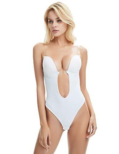 Shymay Damen Formender Body, Einfarbig, weiß, 201705050698