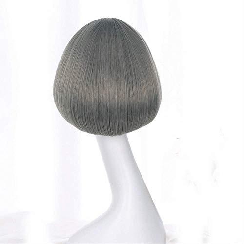 WFQ Perruque Perruques Synthétiques Courtes Pour Les Femmes Cheveux Naturels Brun Noir Rotin Perruque Lin Gris Avec Air Bangs 12Inches Silver Grey