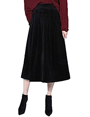 Flygo Women's Elastic Waist Button A-Line Corduroy Midi Long Skirt with Pockets