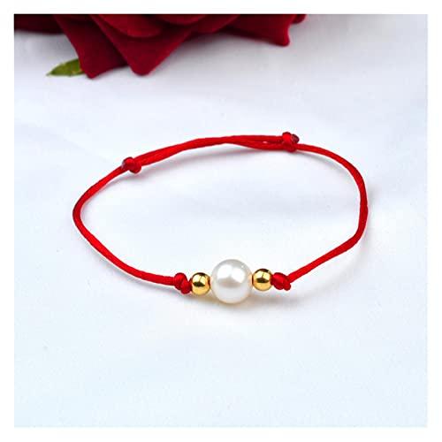 WJCRYPD Pulseras para Mujer Pulsera de Perlas de Perlas de Agua Dulce Natural Real 18k Bola de Oro Cuerda roja Ajustable para Mujeres Regalo de joyería Fina 1 Perla 2 Bolas de Oro Qf Shop