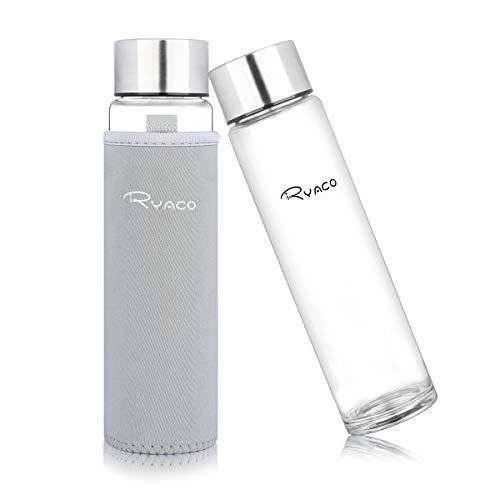 Ryaco Botella de Agua Cristal 420 ML, Botella de Agua Reutil