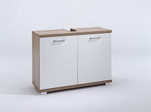 HOMEXPERTS Waschbeckenunterschrank NUSA / Waschtisch Unterschrank stehend, in Sonoma eiche Hochglanz weiß lackiert / 2-türig, 80 x 31,5 x 59cm (BxTxH) / Badezimmer Schrank mit Waschbecken