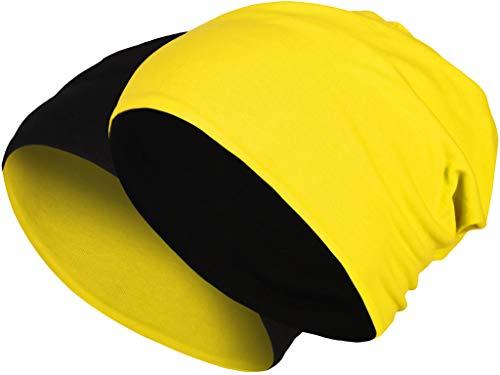 2 in 1 Wendemütze - Reversible Slouch Long Beanie Jersey Baumwolle elastisch Unisex Herren Damen Mütze Heather in 24 (8) (Black/Neon Yellow)