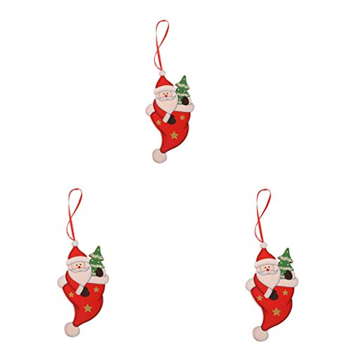 VEFSU 5.34 Inches Long Christmas Tree Hanging Decor, Santa Claus Snowman Xmas Party Ornaments Outdoor Indoor Festival Decorations Home Family(A)