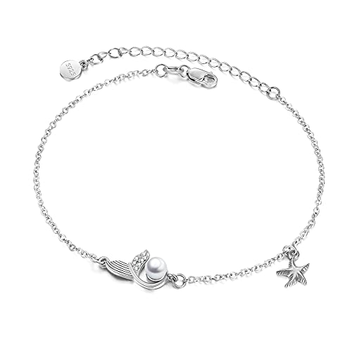 AOBOCO Pearl Anklet Sterling Silver for Girls, Starfish Ankle Bracelet for Women Whale Dolphin Mermaid Tail