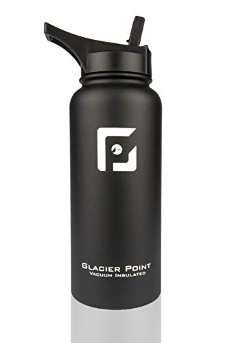 Glacier Point Vacuum Insulated Stainless Steel Water Bottle (18oz / 32oz) Wide Mouth with Bonus Sports Lid | Double Walled Construction | Premium Powder Coating | Zero Condensation! (Black, 32 OZ)