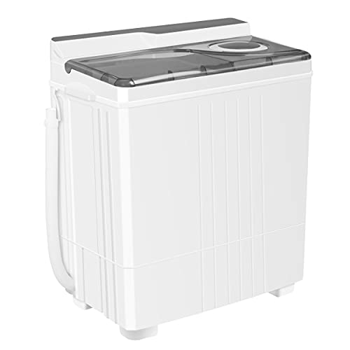 INTERGREAT Portable Mini Washing Machine, 24 Lbs Small Washer Dryer Combo, Compact Apartment 2 in 1 Twin Tub Washers with Drain Pump and Time Control for Laundry, Dorms, College, RV, Camping (Gray)