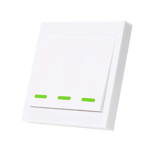 Splenssy eWeLink - Interruptor de luz de pared con mando a distancia de 3 velocidades, 86 tipo ON/OFF 433 MHz, mando a distancia inalámbrico RF con pegatinas para el hogar o el salón