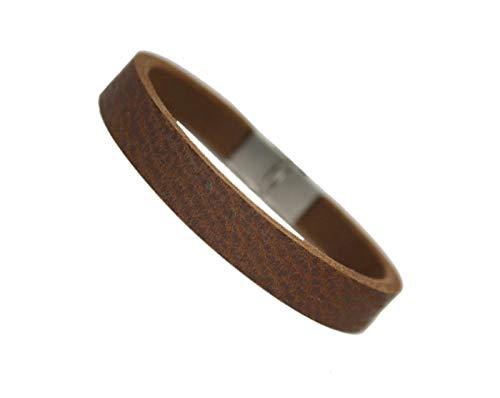 Unbekannt tinasfunshop Herren Büffelleder Armband Edelstahl Verschluss 10 mm breite stylisch schwarz braun Used Look (braun Used Look)