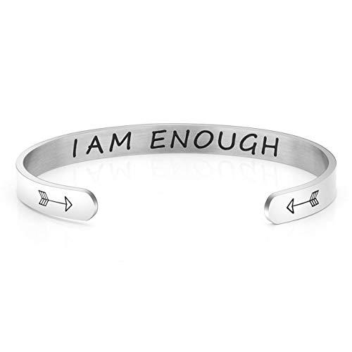 Jovivi Silver Cuff Bracelet Bangle Adjustable for Women Men Stainless Steel Engraved I AM Enough Inspirational Bracelet Friendship Bangles BBF Best Friends Jewellery Gifts