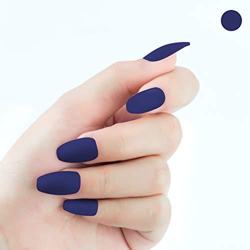 Beashine Künstliche Nägel, Falsche Nägel, 24 Natürliche Französisch Acryl Künstliche Gefälschte Falsche Nägel Kunst Tipps mit Box für Damen, Mädchen Nägel für Nagel-Salons & DIY-Nailart(618 blau)
