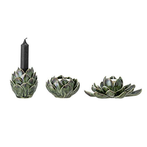 Bloomingville Windlicht, grün, Keramik, 3er Set