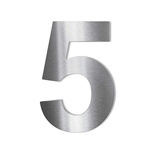 Metzler Edelstahl Hausnummer – wetterfest & pflegeleicht – selbstklebend - Schrift Arial - Höhe 75 mm - Ziffer 5