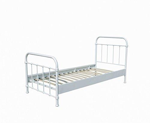 Metallbett Louis 120*200 cm weiß inkl Lattenrost Jugendzimmer KinderzimmerKinderbett Jugendliege Bettliege Einzelbett Jugendbett