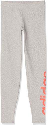 adidas Yg E Lin Tght Mallas, Niñas, Medium Grey Heather/Signal Coral, 1112Y