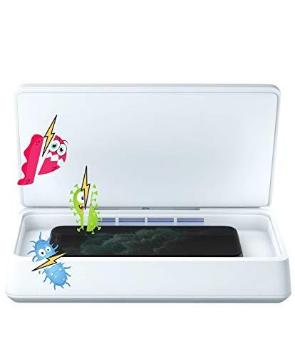 Agrado UV desinfector lámpara desinfectante uvc Caja esterilizadora, teléfono móvil Dispositivo de Limpieza para el teléfono, Cepillo de Dientes, Relojes, Llaves, 7 Pulgadas M3 (White)