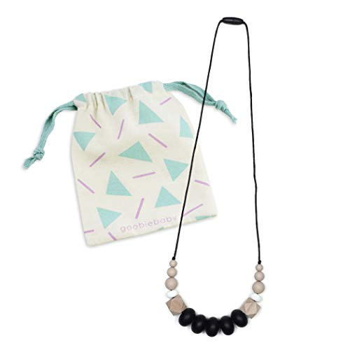 Goobie Baby Harper Silicone Teething Necklace for Mom to Wear, Nursing Necklace Chew Bead (Teething Necklace – Black/Oatmeal)