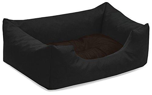 BedDog® Hundebett Mimi, Hundesofa aus Cordura, Microfaser-Velours, waschbares Hundebett Vier-eckig mit Rand, Hundekissen für drinnen, draußen, S, schwarz-braun