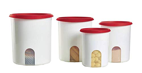 Tupperware 4 Pc One Touch Canister Set in Passion Red